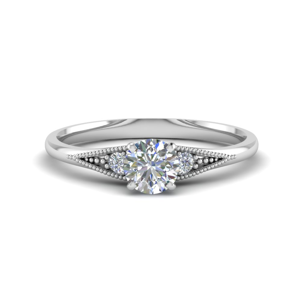 Small Accents 3 Stone Pave Anniversary Ring