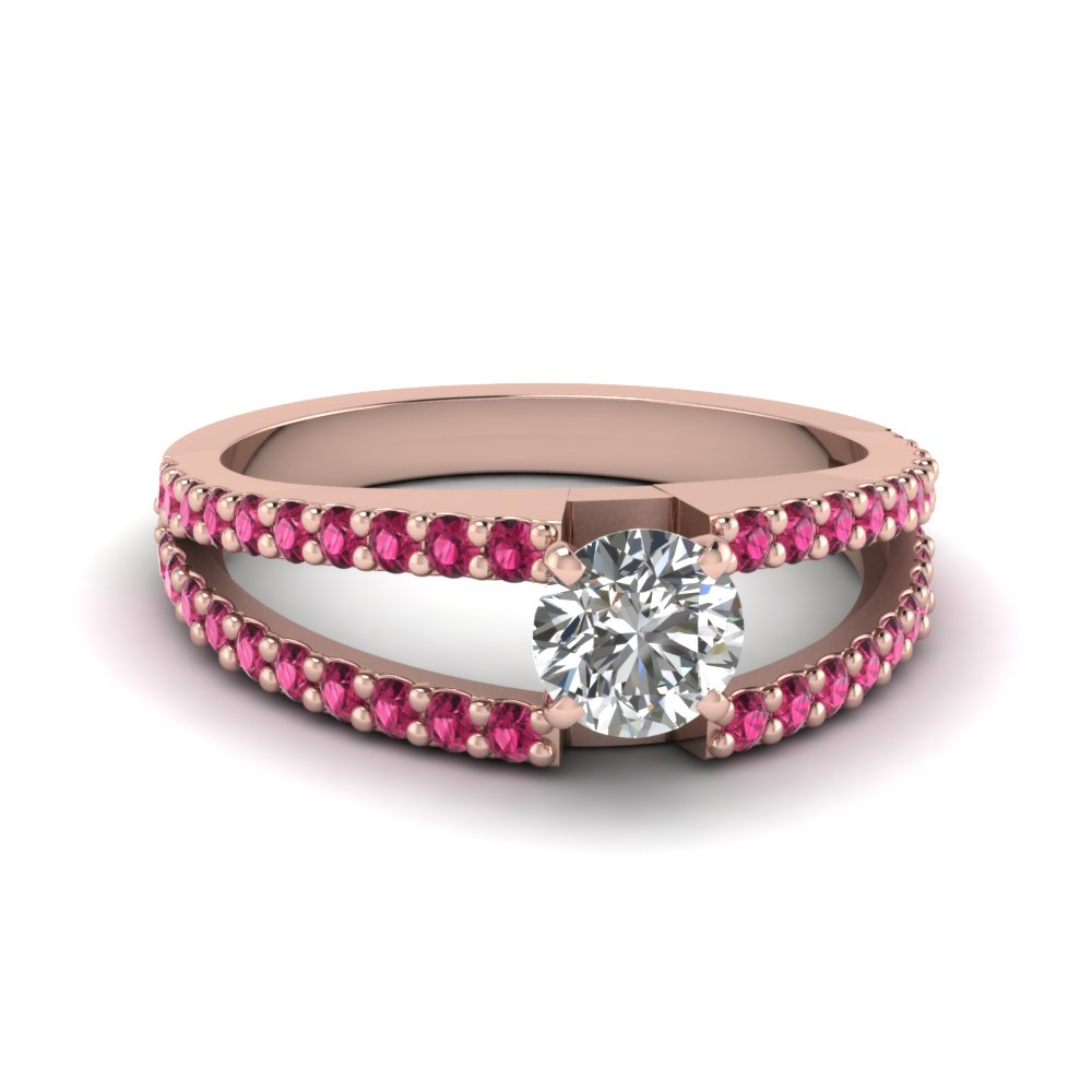 round cut split band gemstone with diamond engagement ring with pink sapphire in FDENR8335RORGSADRPI NL RG GS