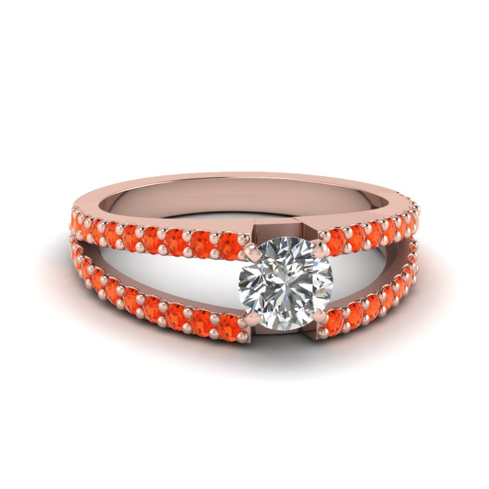 round cut split band gemstone with diamond engagement ring with poppy topaz in FDENR8335RORGPOTO NL RG GS