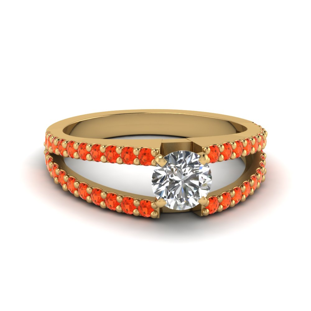 round cut split band gemstone with diamond engagement ring with poppy topaz in FDENR8335RORGPOTO NL YG GS