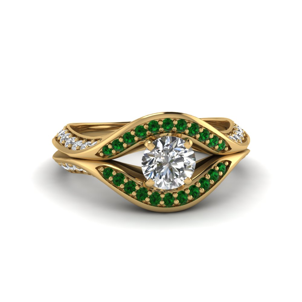 round cut split crossover halo diamond engagement ring with emerald in FDENS3165RORGEMGR NL YG