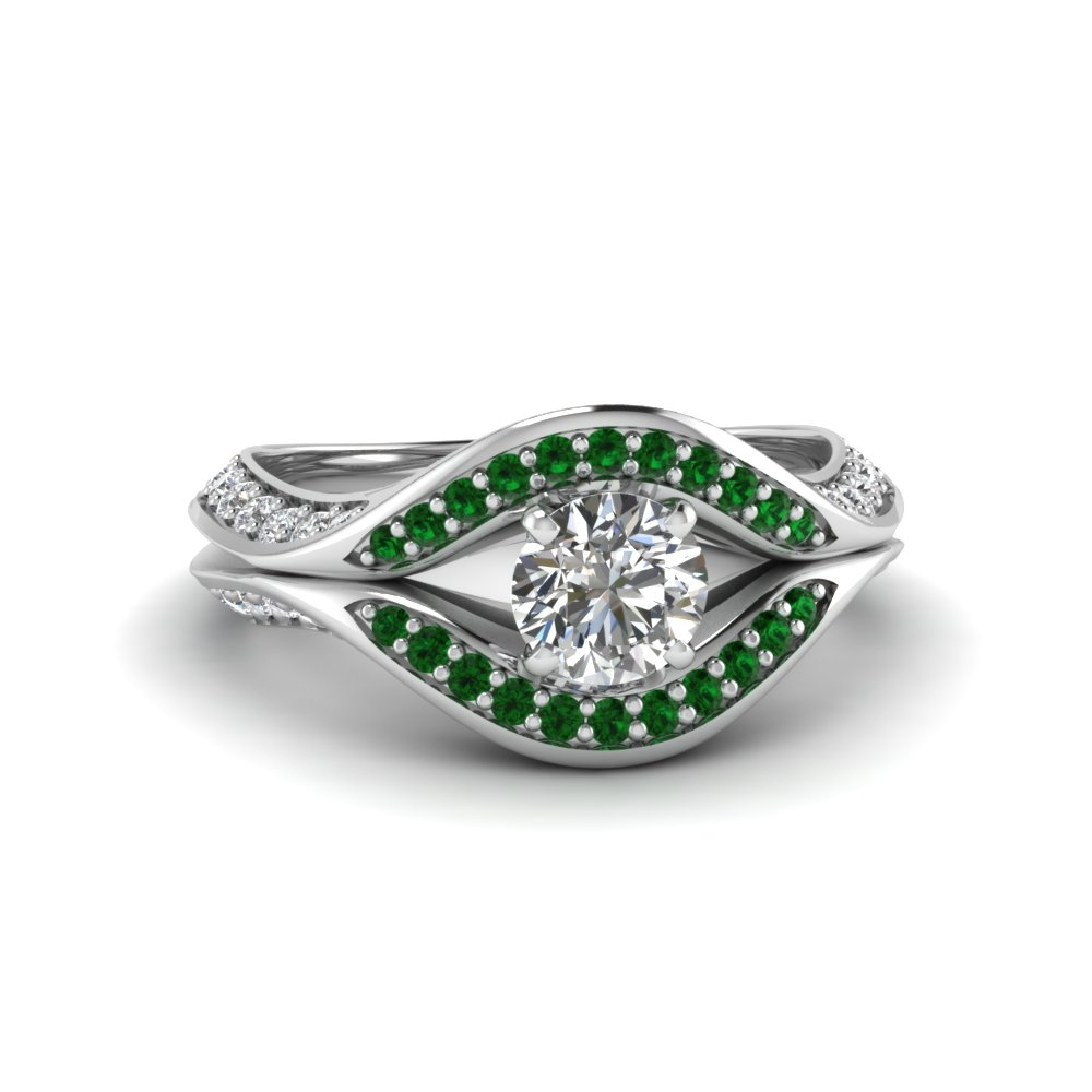 round cut split crossover halo diamond engagement ring with emerald in FDENS3165RORGEMGR NL WG