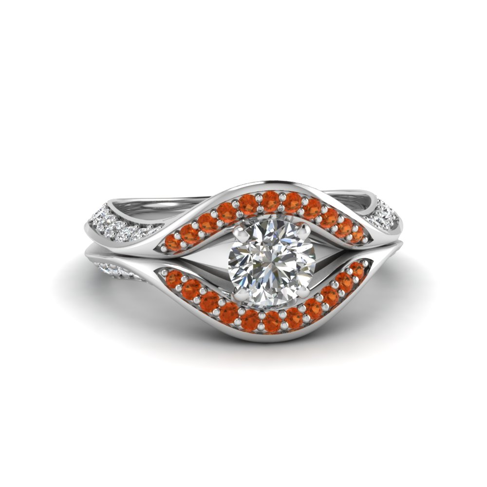 round cut split crossover halo diamond engagement ring with orange sapphire in FDENS3165RORGSAOR NL WG