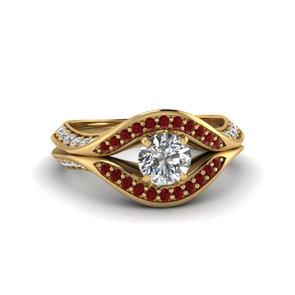 round cut split crossover halo diamond engagement ring with ruby in FDENS3165RORGRUDR NL YG