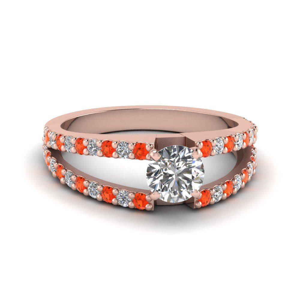 round cut split double band diamond engagement ring with poppy topaz in FDENR8335RORGPOTO NL RG