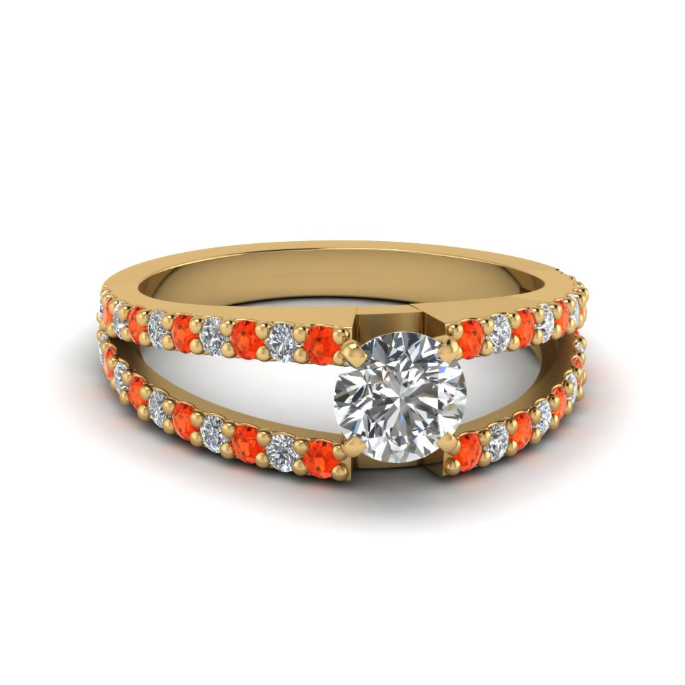 round cut split double band diamond engagement ring with poppy topaz in FDENR8335RORGPOTO NL YG