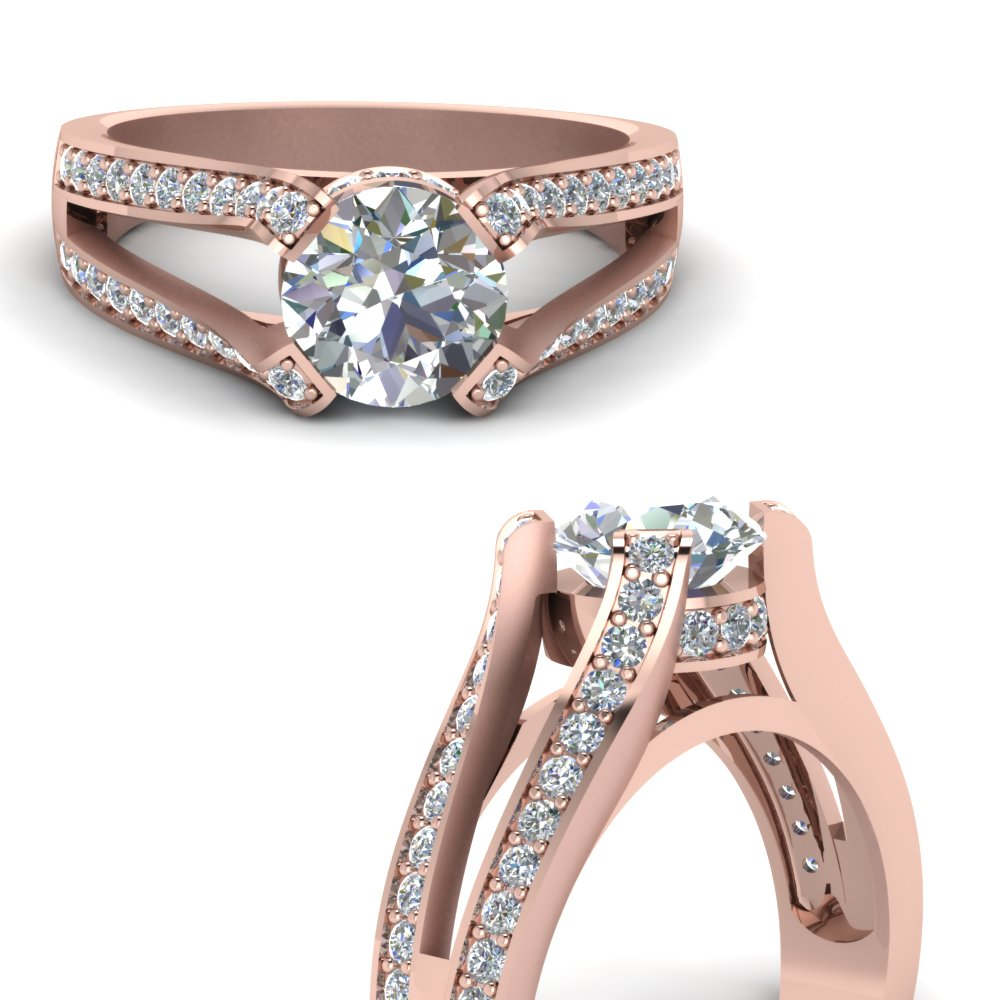 Rose Gold Split Shank Ring
