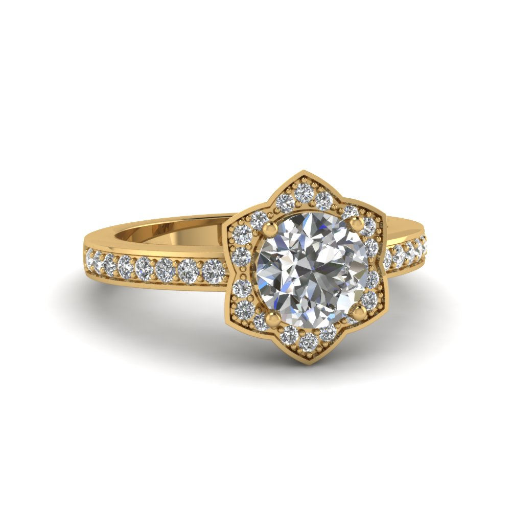 Victorian Rose Flower Circle Diamond Engagement Ring in Yellow Gold