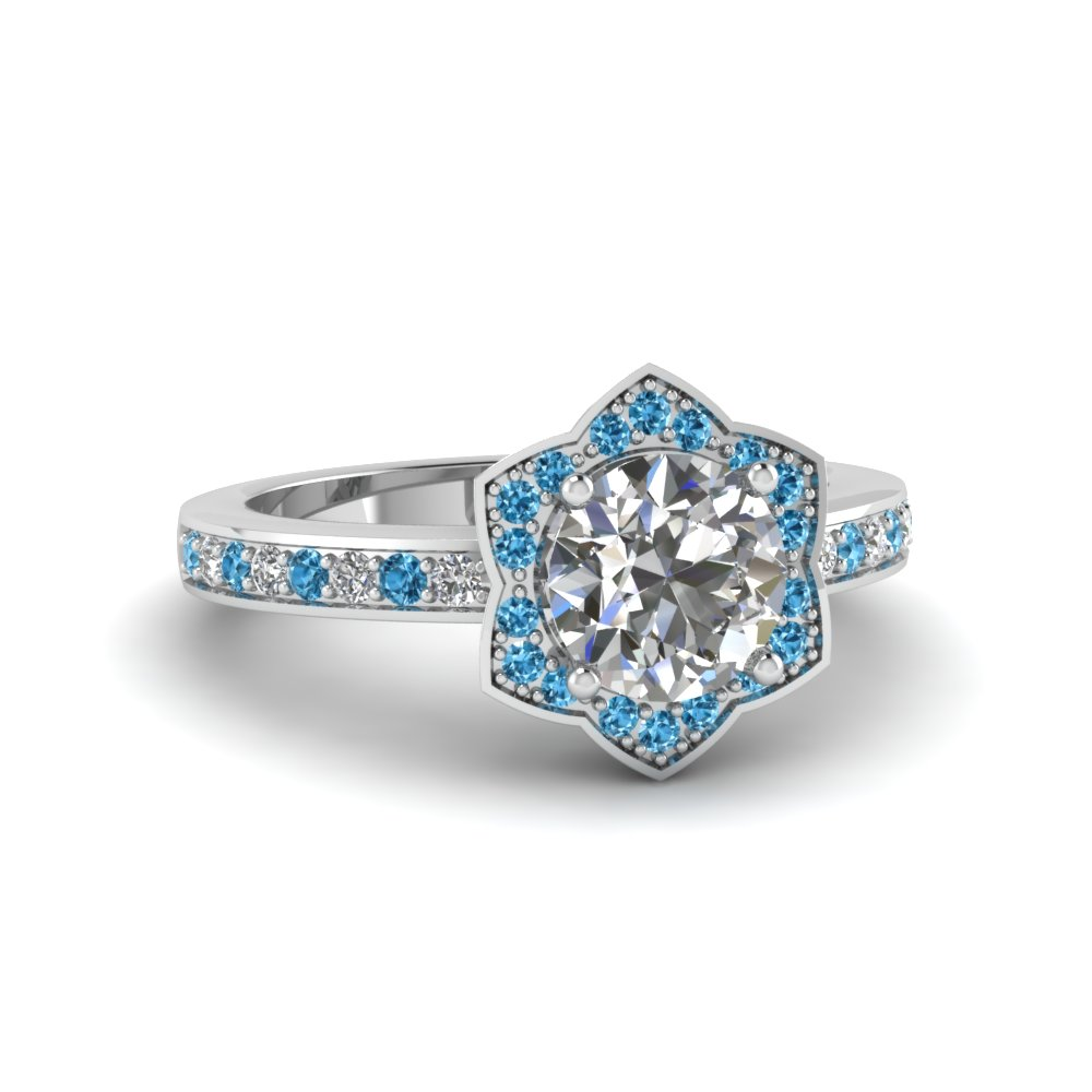 round cut star halo diamond pave engagement ring with ice