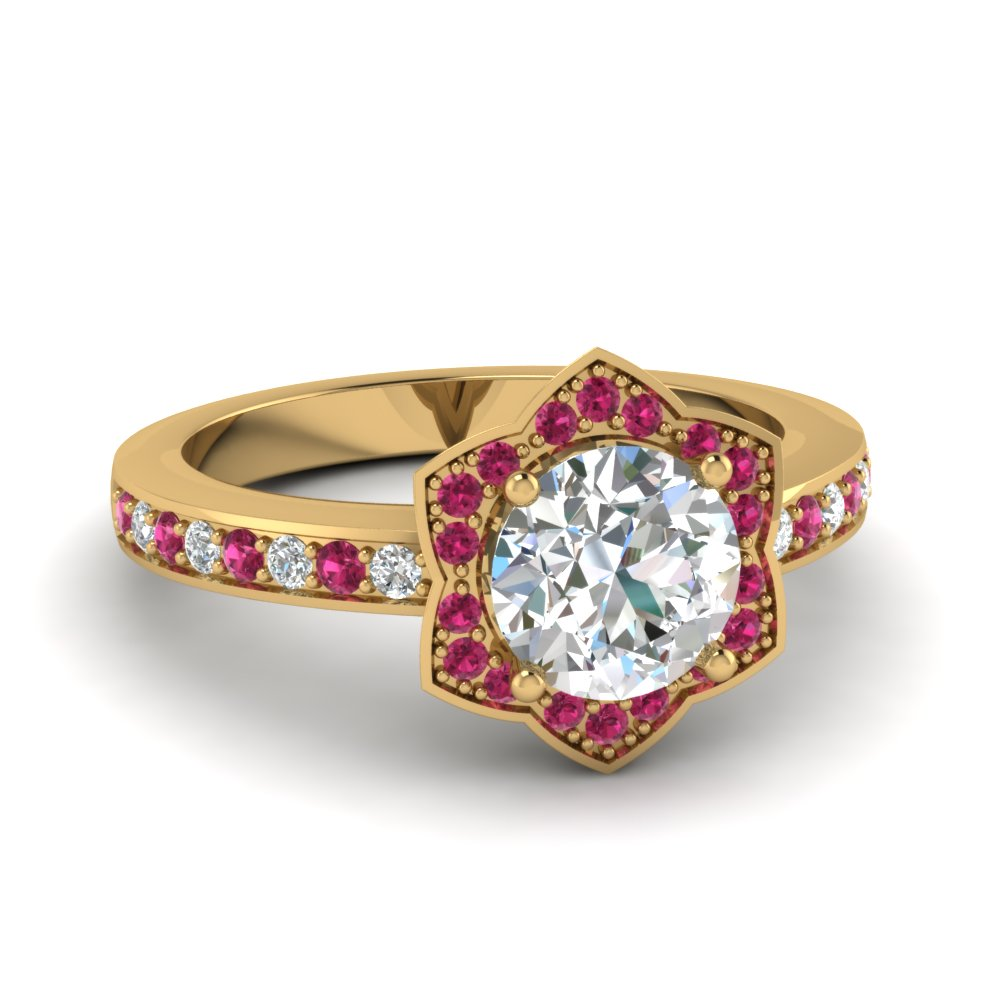 victorian halo diamond engagement ring with pink sapphire in FDENS3181RORGSADRPI NL YG
