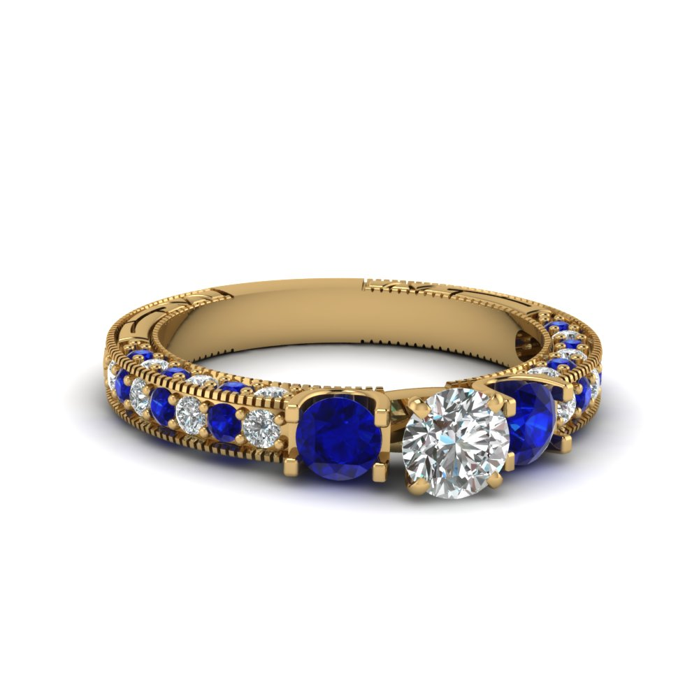 3 stone accented vintage round cut diamond engagement ring with sapphire in FDENR6260RORGSABL NL YG 30