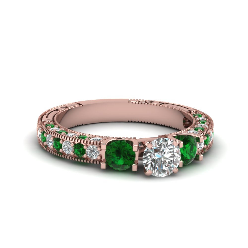 Emerald Vintage Diamond Ring