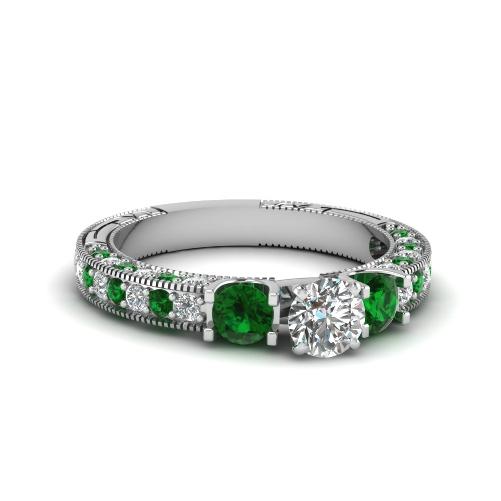 3 stone accented vintage round cut diamond engagement ring with emerald in FDENR6260RORGEMGR NL WG 30