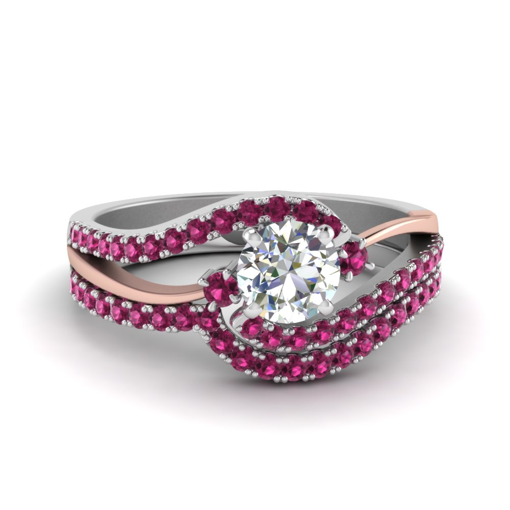 round cut swirl 3 stone diamond bridal set with pink sapphire in FDO50895ROGSADRPI NL WG GS
