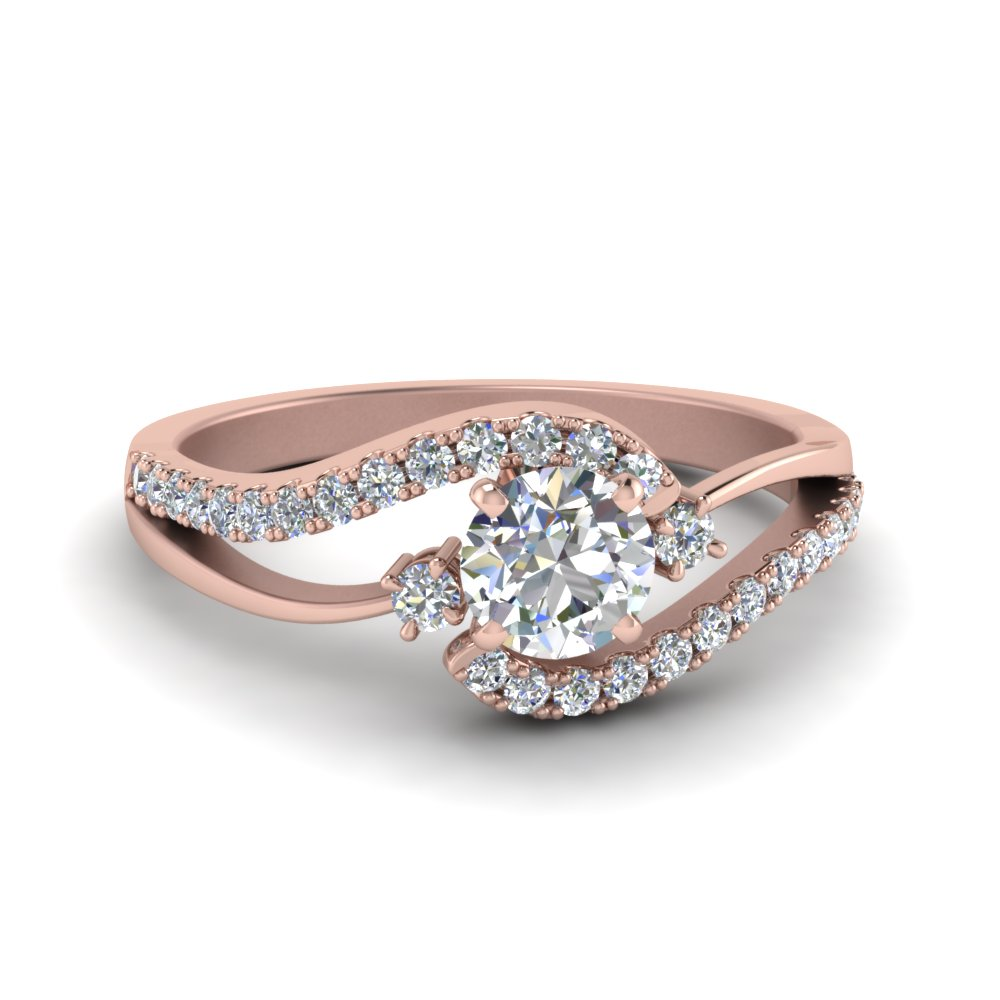 7e3d3ba70 Swirl 3 Stone Diamond Engagement Ring Round Cut diamond Side Stone  Engagement Rings with White Diamond in 14K Rose Gold [ Setting + Center  Stone ]