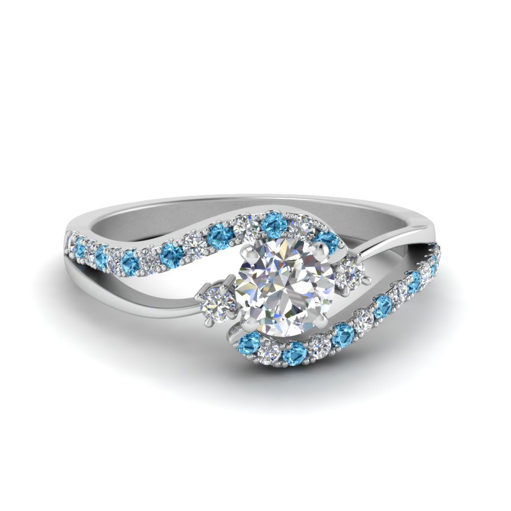 Round Cut Swirl 3 Stone Diamond Engagement Ring With Blue