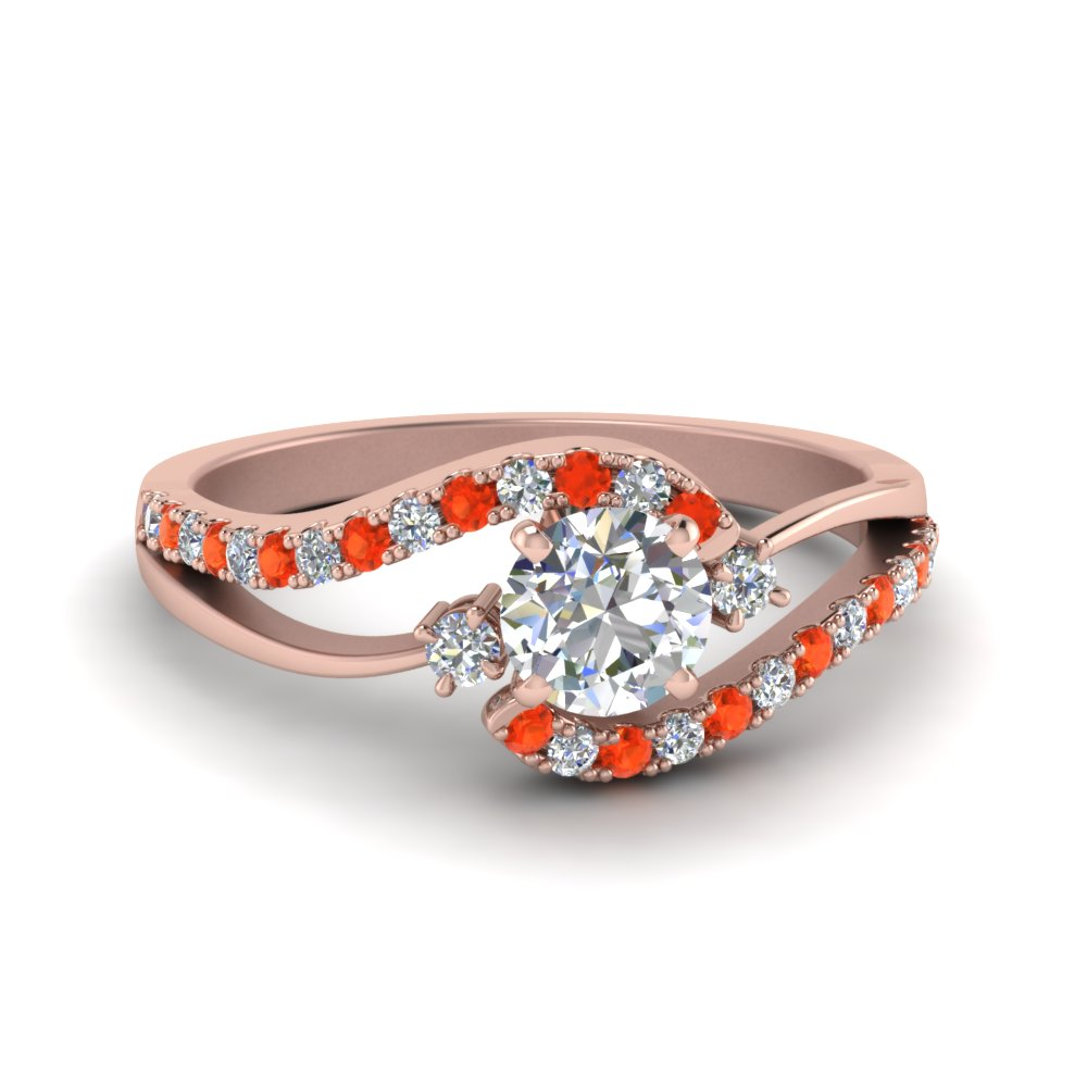 round cut swirl 3 stone diamond engagement ring with poppy topaz in FDO50895RORGPOTO NL RG