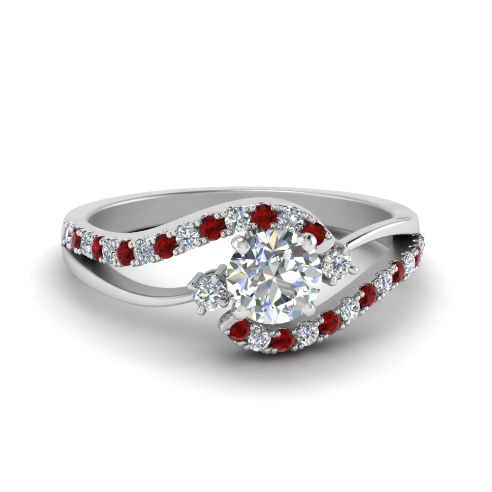 round cut swirl 3 stone diamond engagement ring with ruby in FDOV50895RORGRUDR NL WG