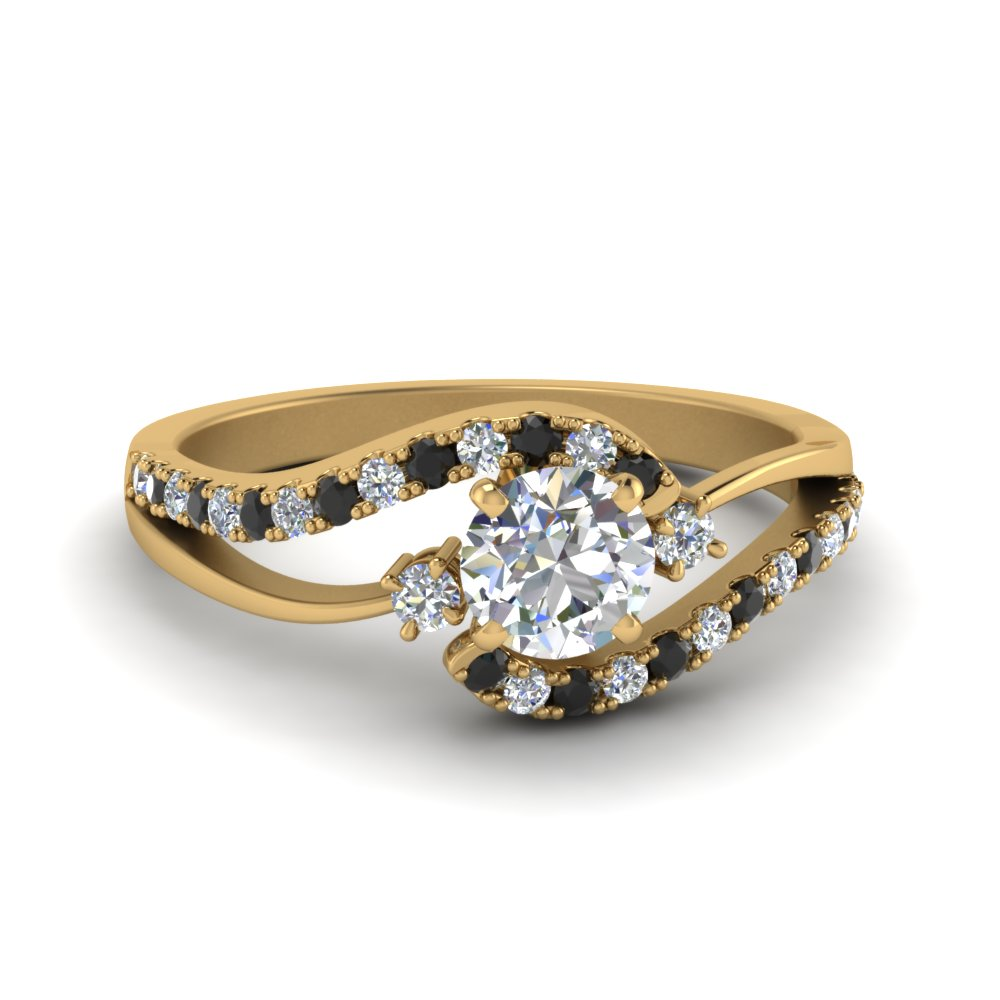 Gold Black Diamond Engagement Rings