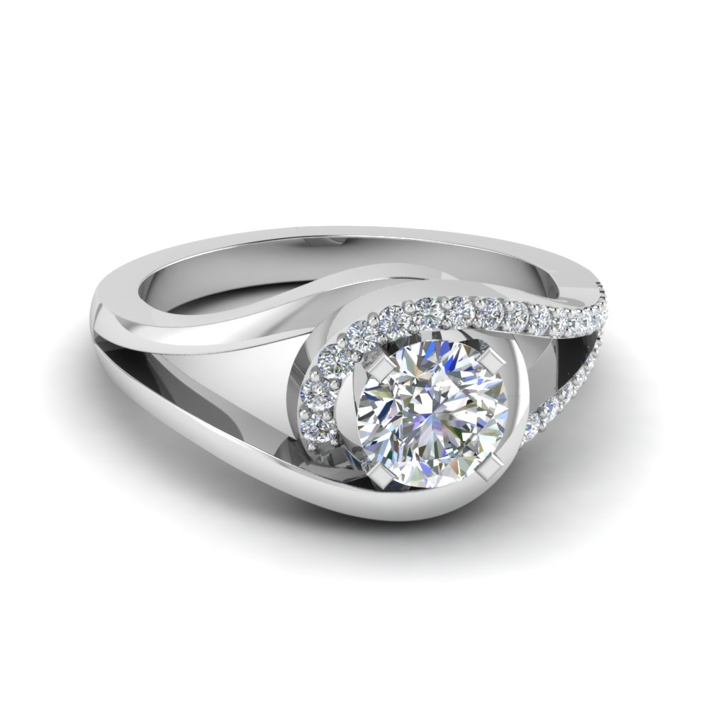 Round Cut Diamond Split Shank Engagement Ring With White Diamond In 14k  White Gold