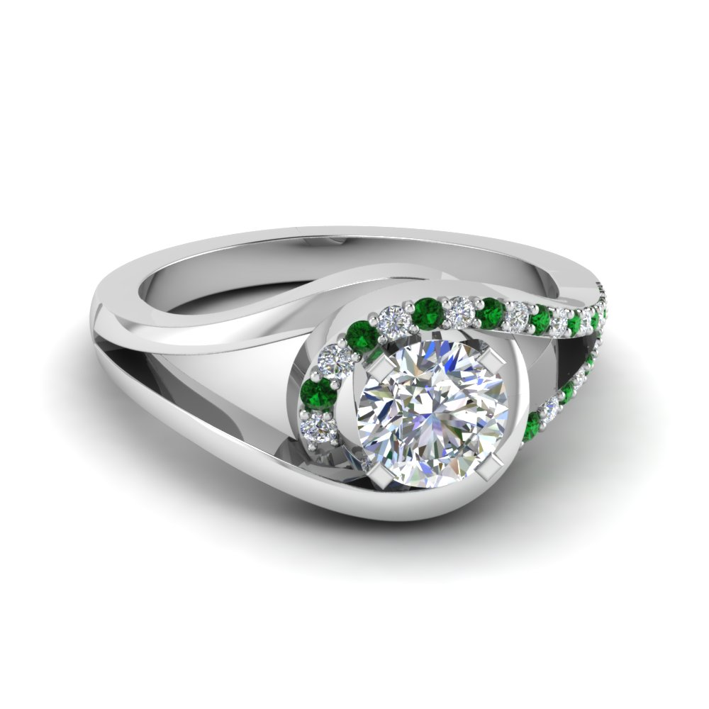 Swirl Emerald Ring For Women
