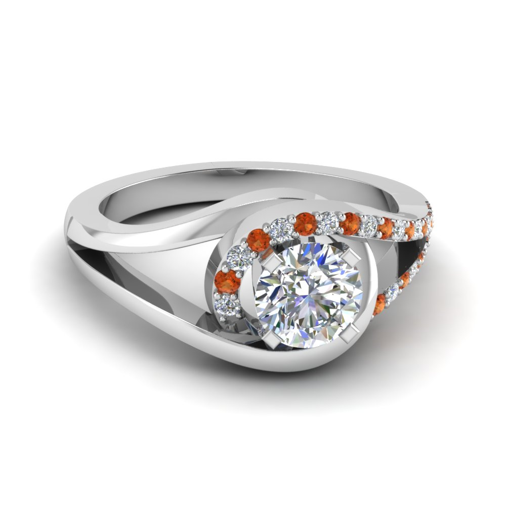 Split Orange Sapphire Diamond Rings