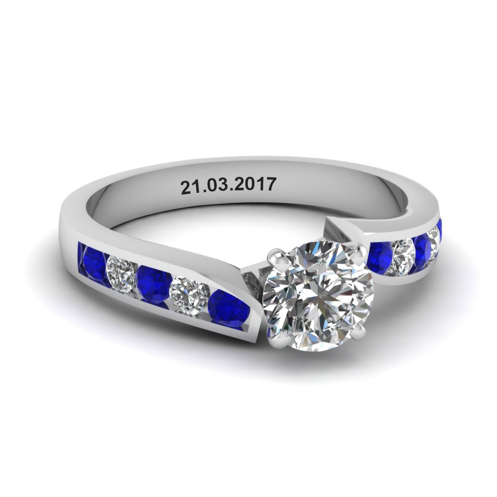 unique swirl round diamond engagement ring with sapphire in FDENR1115RORGSABL NL WG EG