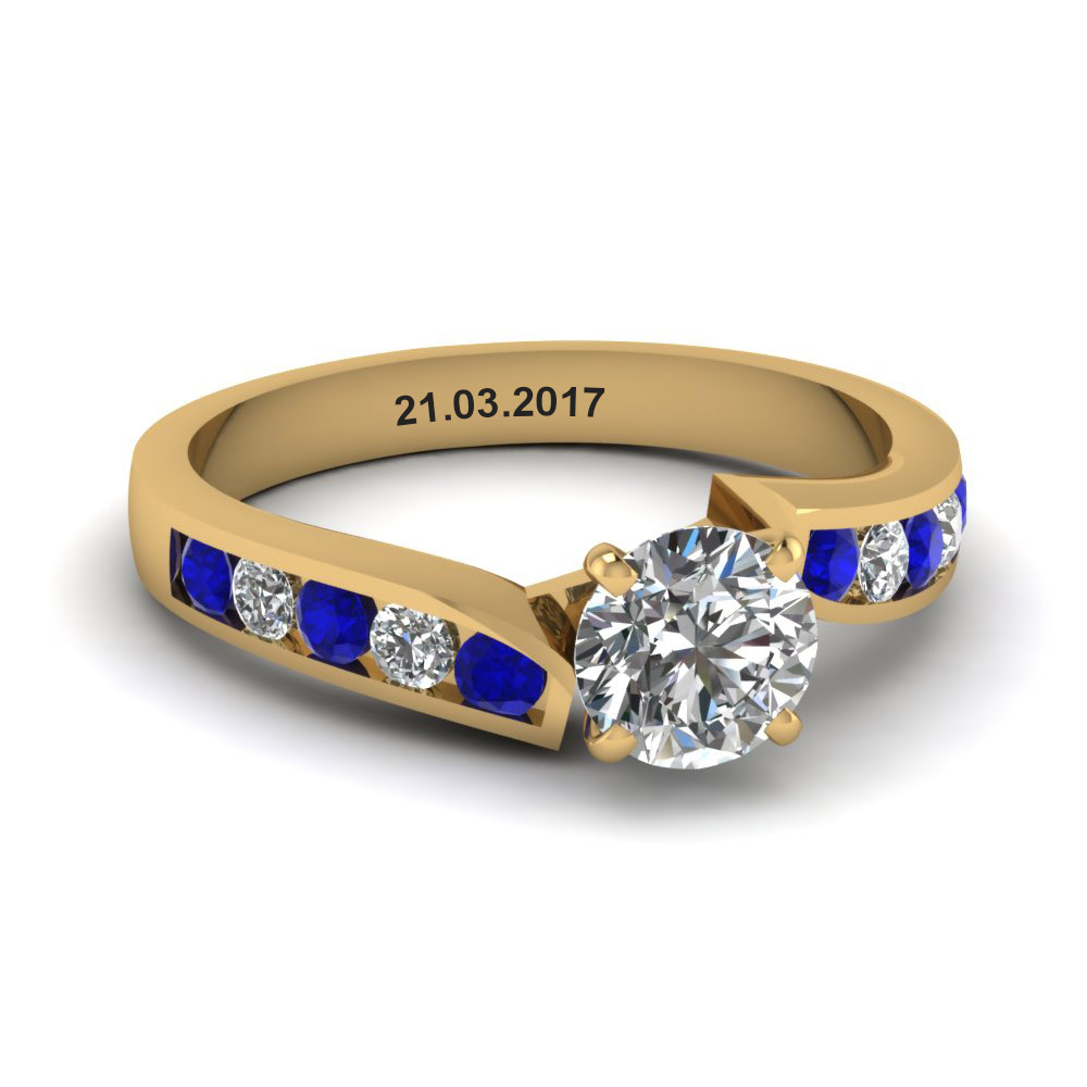 unique swirl round diamond engagement ring with sapphire in FDENR1115RORGSABL NL YG EG