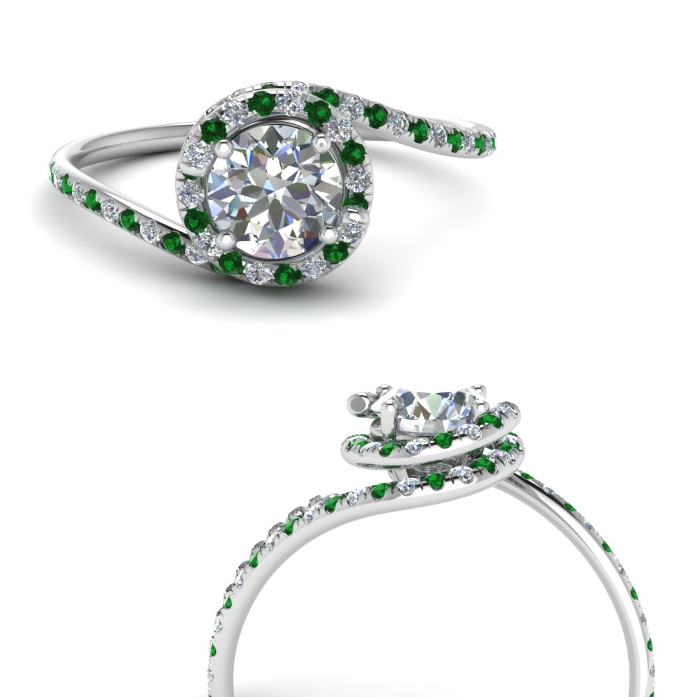 round cut swirl halo diamond engagement ring with emerald in FDENS1295RORGEMGRANGLE3 NL WG.jpg
