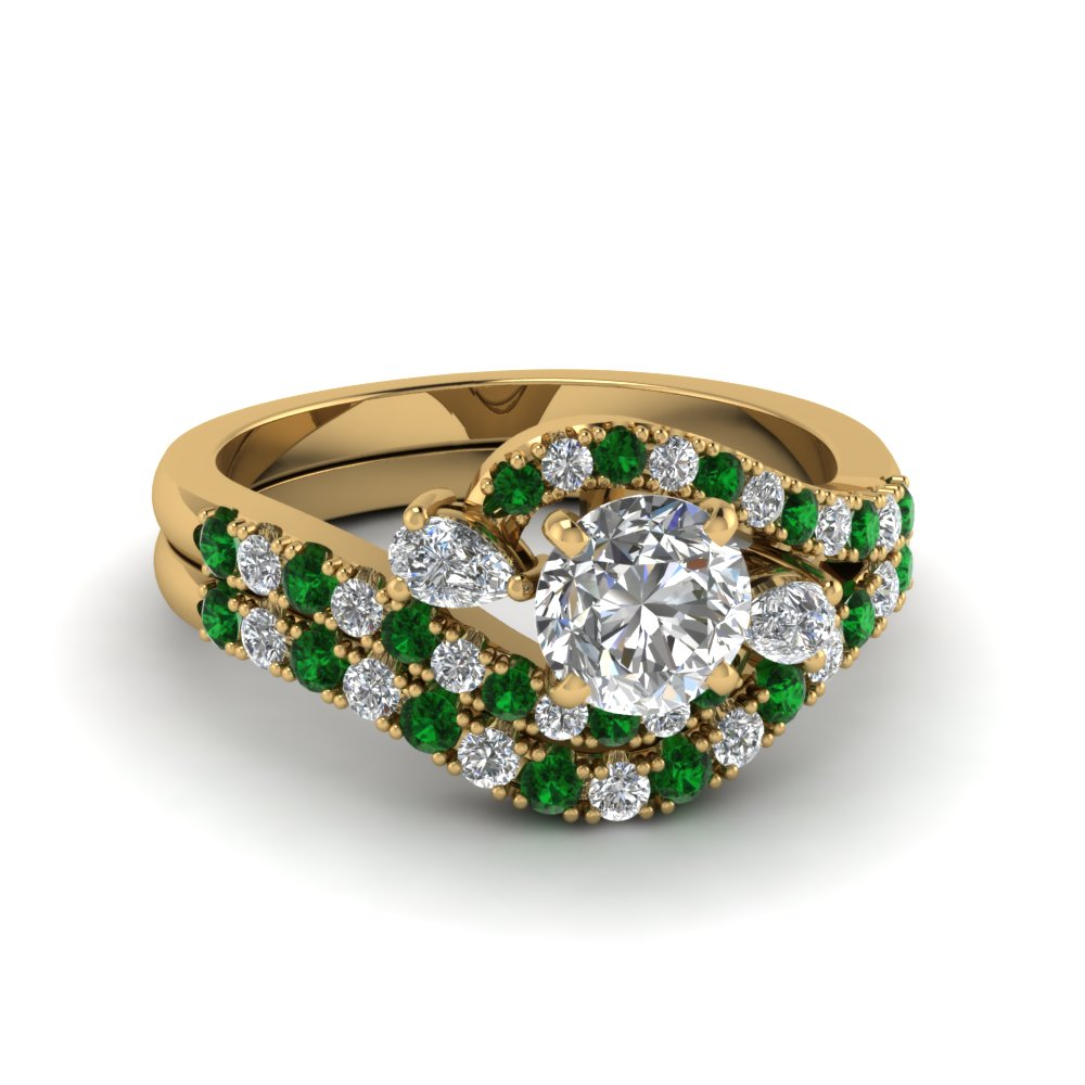 swirl halo diamond matching wedding ring sets with emerald in 14K yellow gold FDENS2232ROGEMGR NL YG