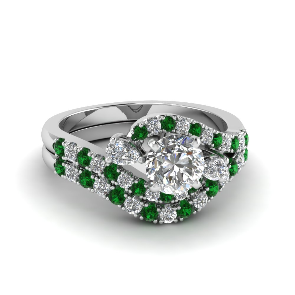 swirl halo diamond matching wedding ring sets with emerald in 18K white gold FDENS2232ROGEMGR NL WG