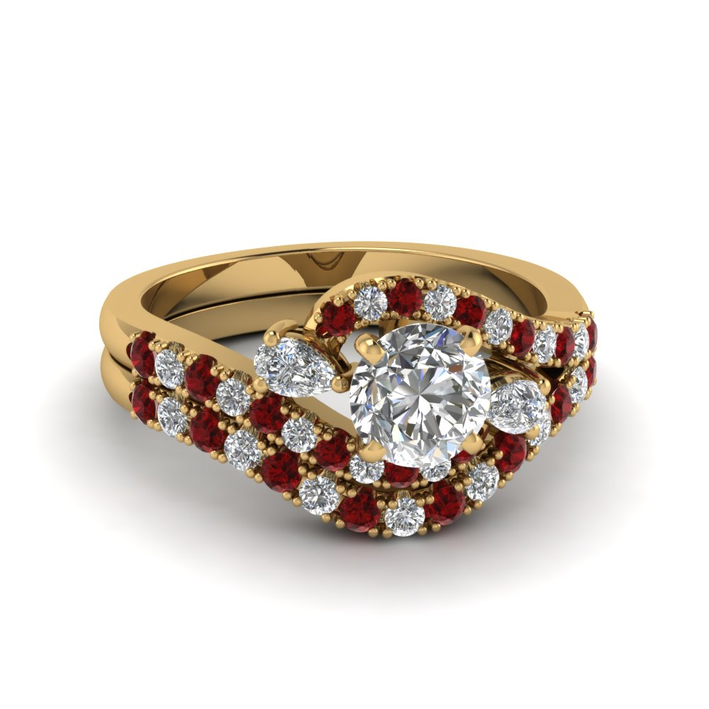 swirl halo diamond matching wedding ring sets with ruby in 18K yellow gold FDENS2232ROGRUDR NL YG