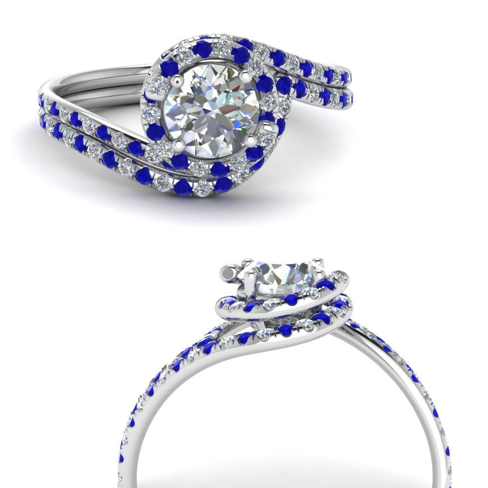 round cut swirl halo diamond wedding ring set with sapphire in FDENS1295ROGSABLANGLE3 NL WG.jpg