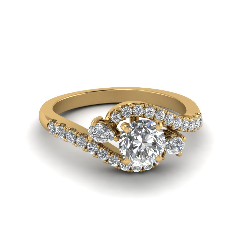 swirl halo simple diamond engagement ring in 14K yellow gold FDENS2232ROR NL YG