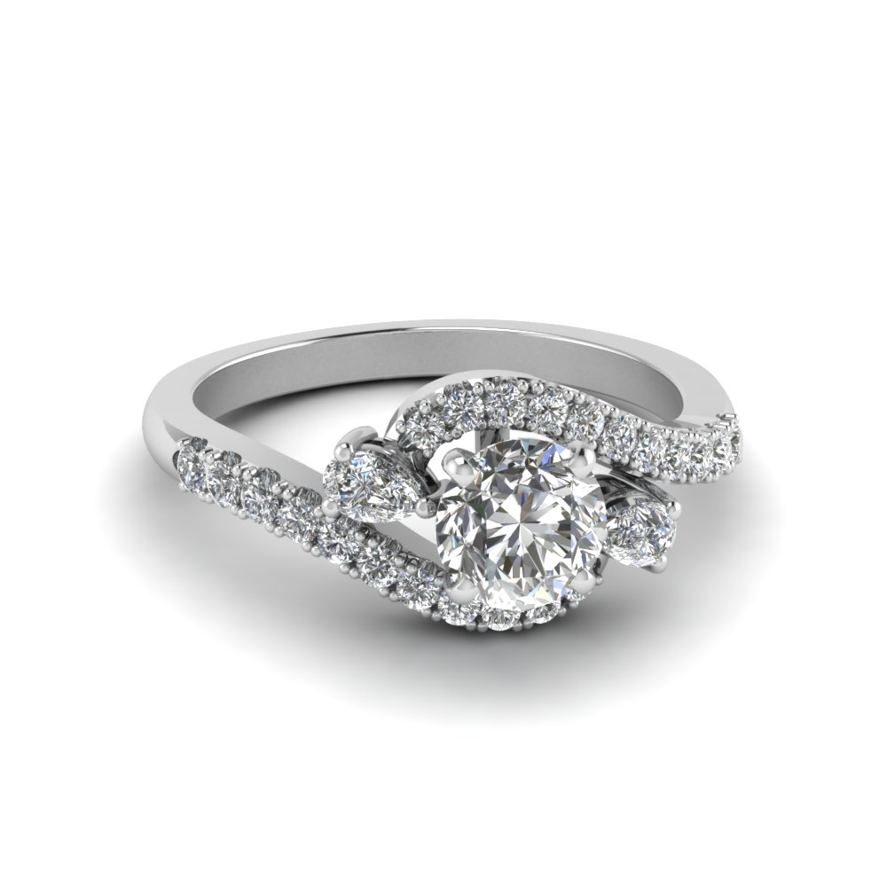 Swirl Halo Simple Diamond Platinum Ring