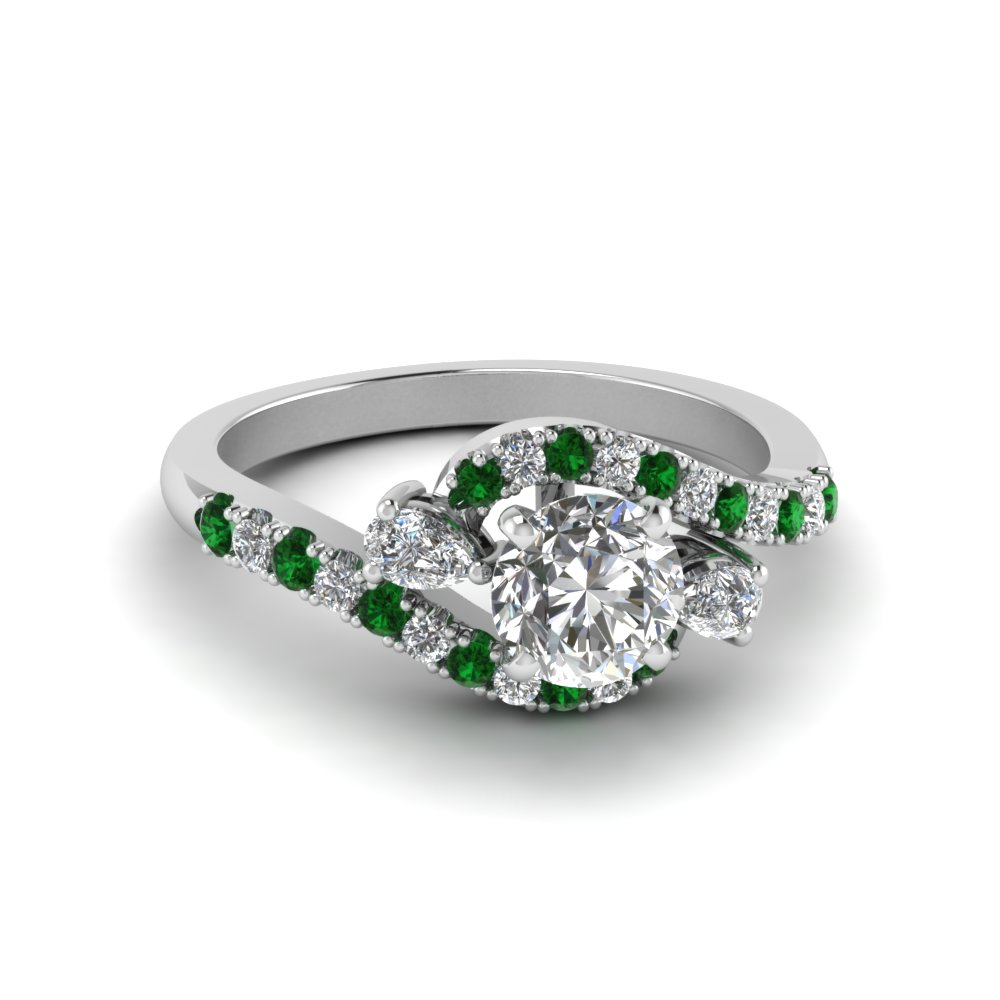 Beautiful Swirl Halo Emerald Ring