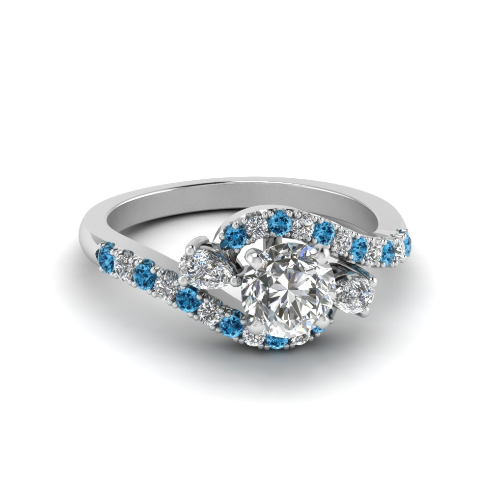 Round Cut Swirl Halo Simple Diamond Engagement Ring With Ice Blue