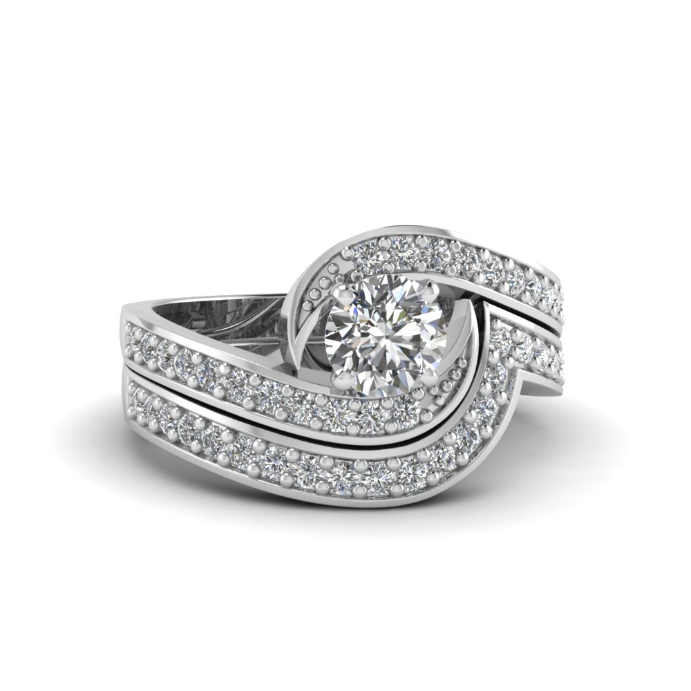 Round Cut Swirl Pave Diamond Wedding Ring Set In 14K White