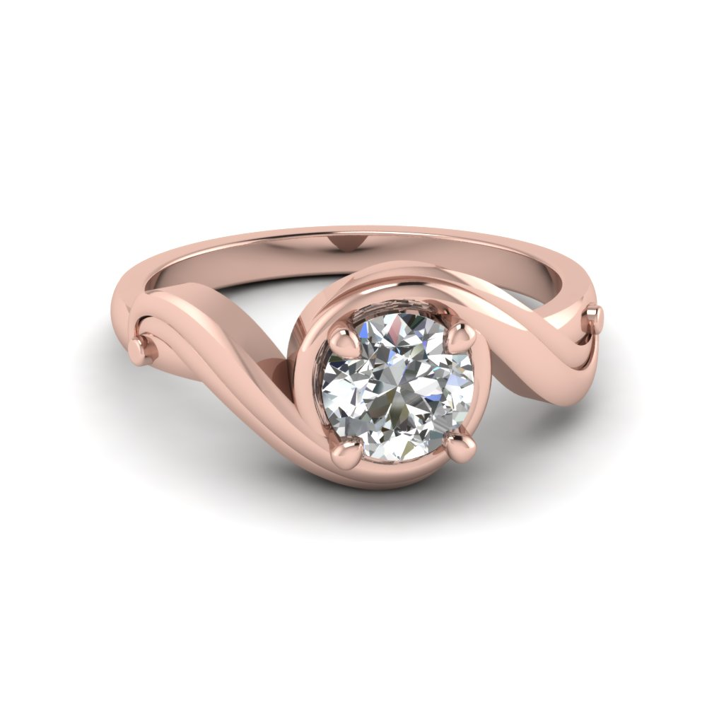 Round Cut Swirl Solitaire Diamond Engagement Ring In 14K Rose Gold