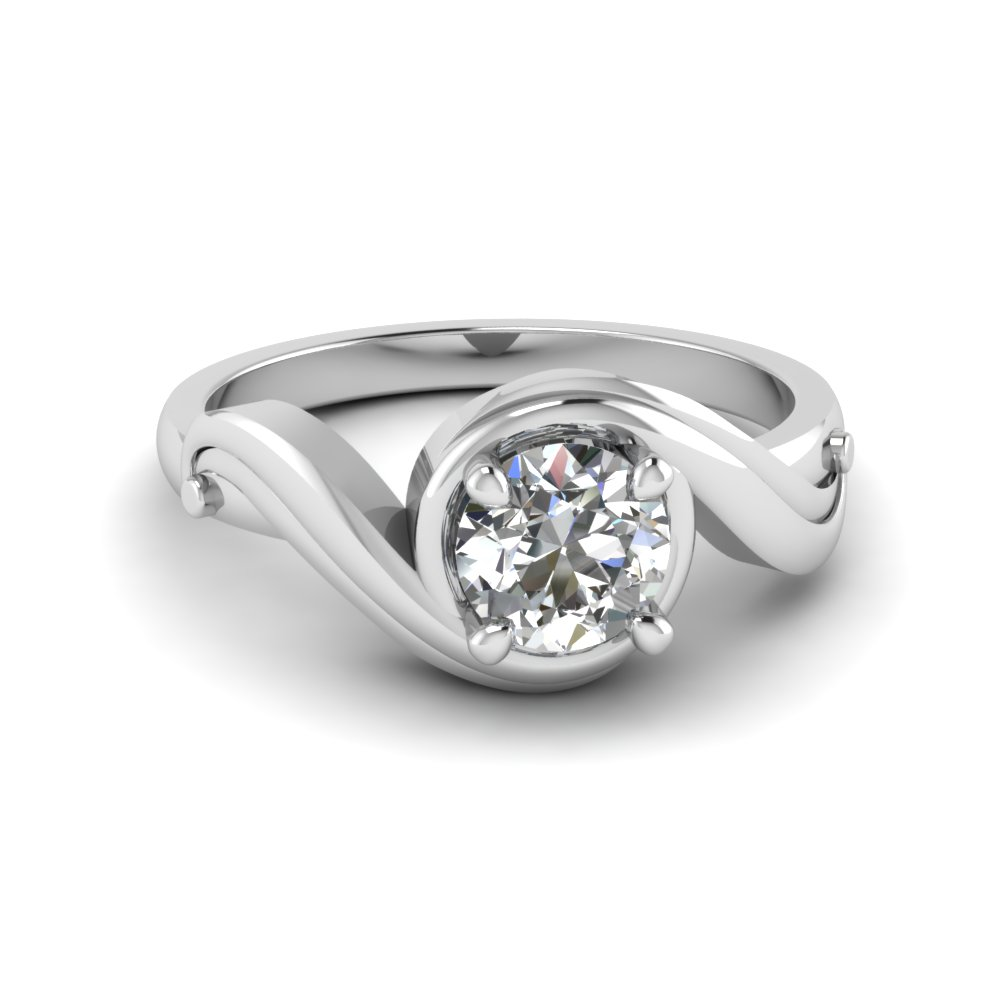 Round Cut Swirl Solitaire Diamond Engagement Ring In 14k White Gold  Fd122952ror Nl Wg
