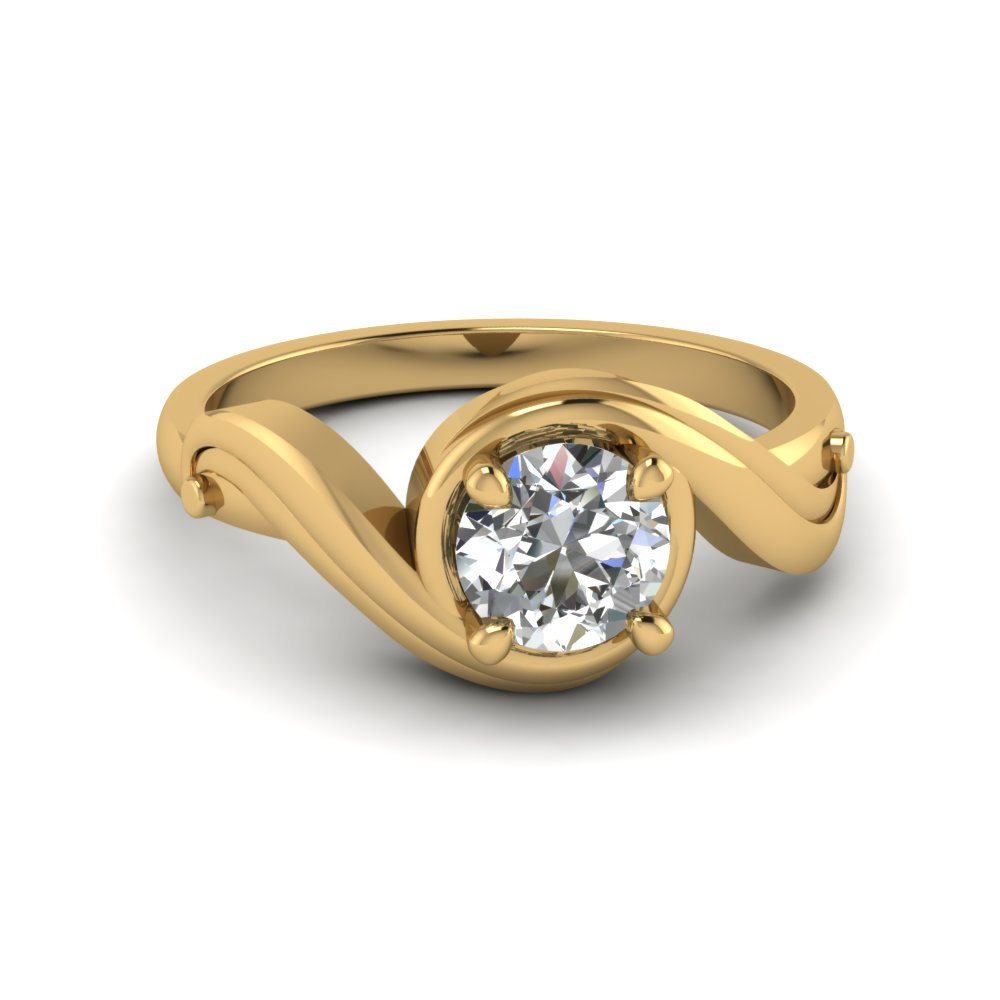 Swirl Solitaire Round Diamond Ring