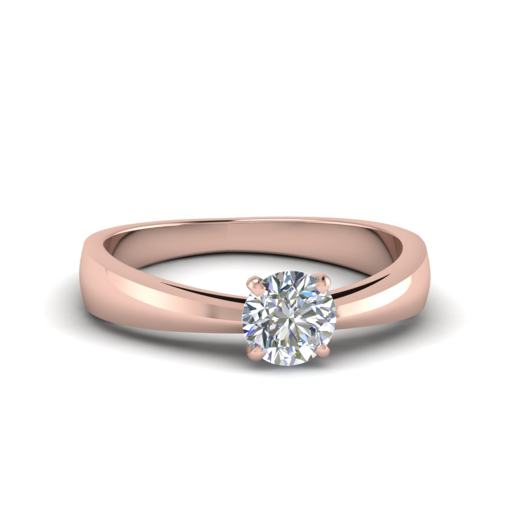 tapered round cut solitaire engagement ring in FDENR678ROR NL RG