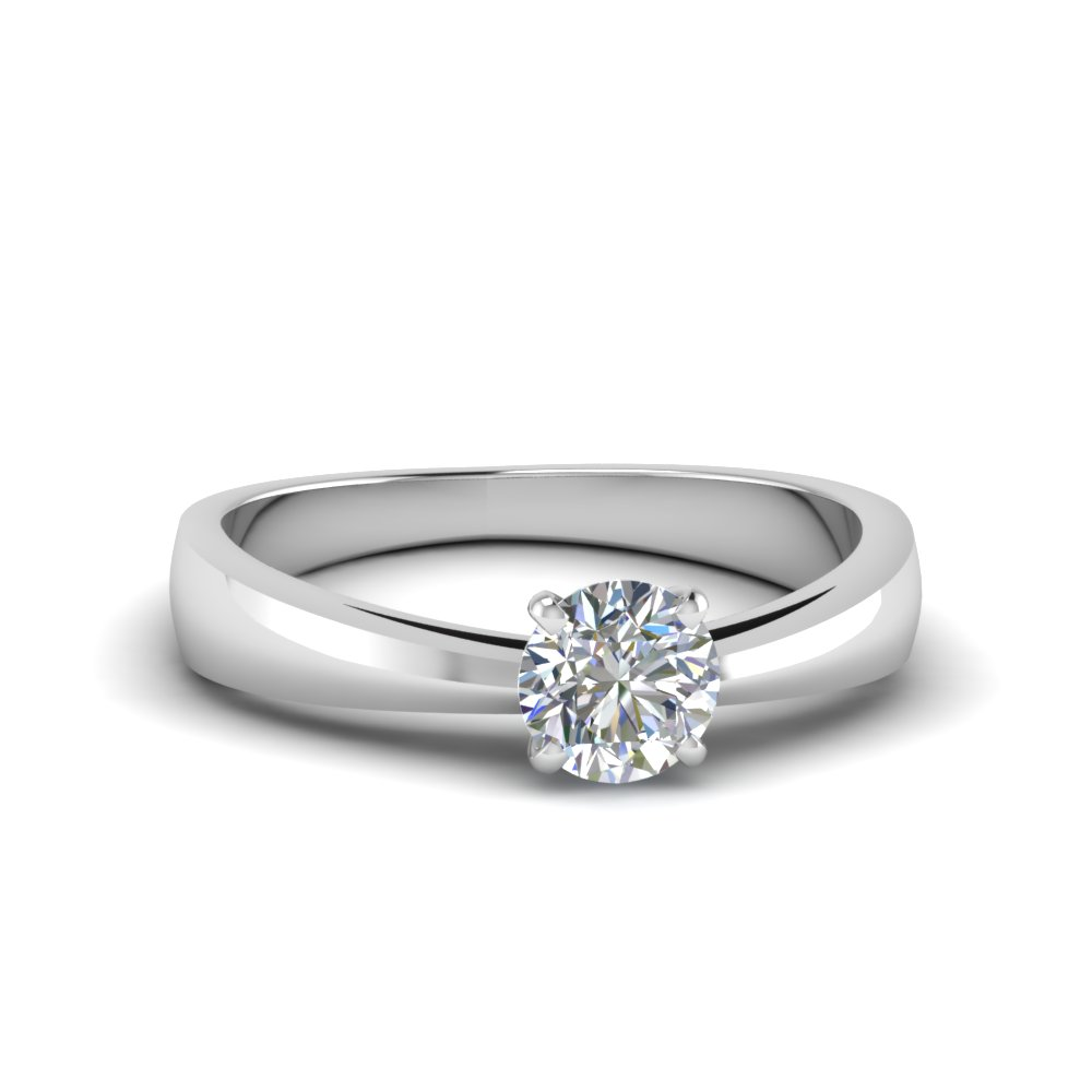 tapered round cut solitaire engagement ring in FDENR678ROR NL WG