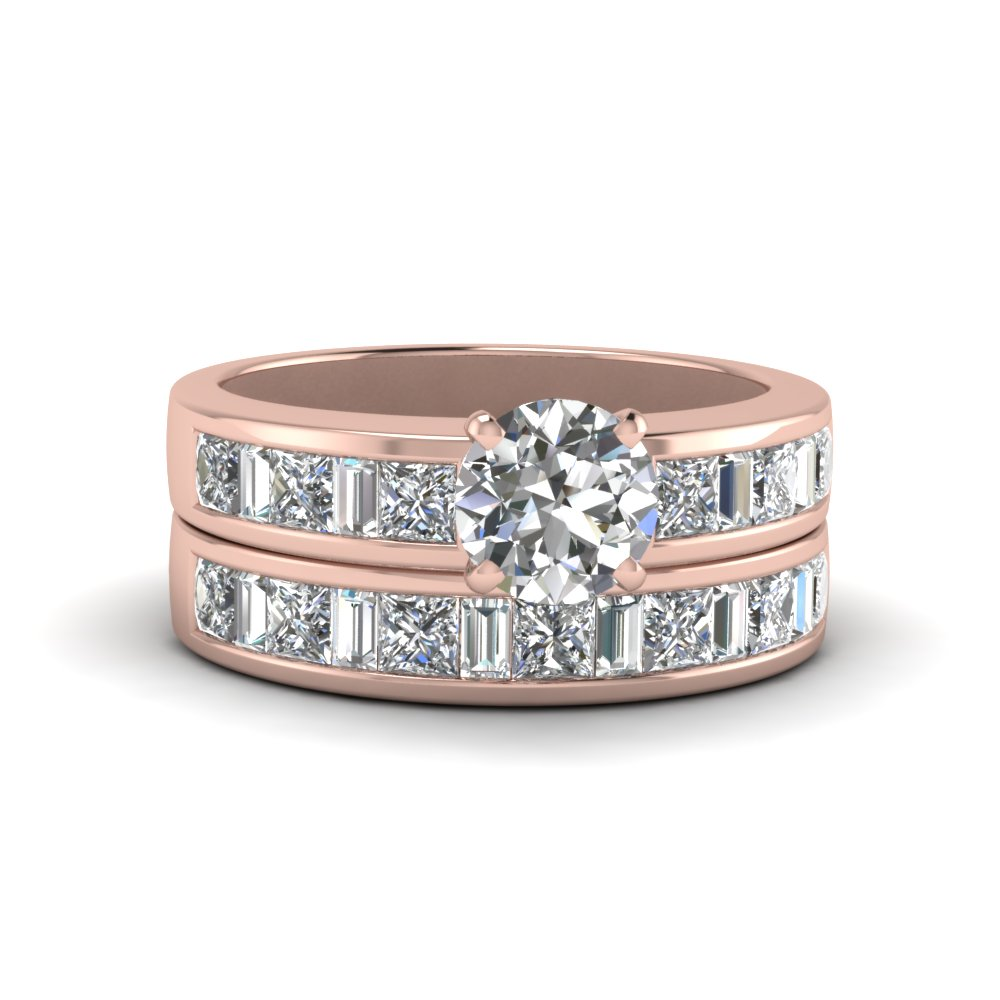 Round Cut Thick Band Diamond And Baguette Wedding Set In 14k Rose