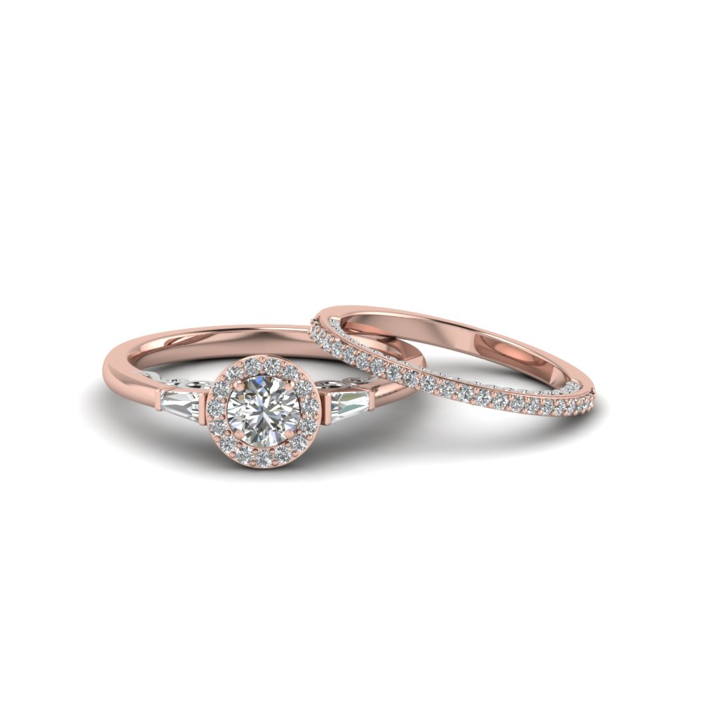 Halo Filigree Diamond Ring And Band
