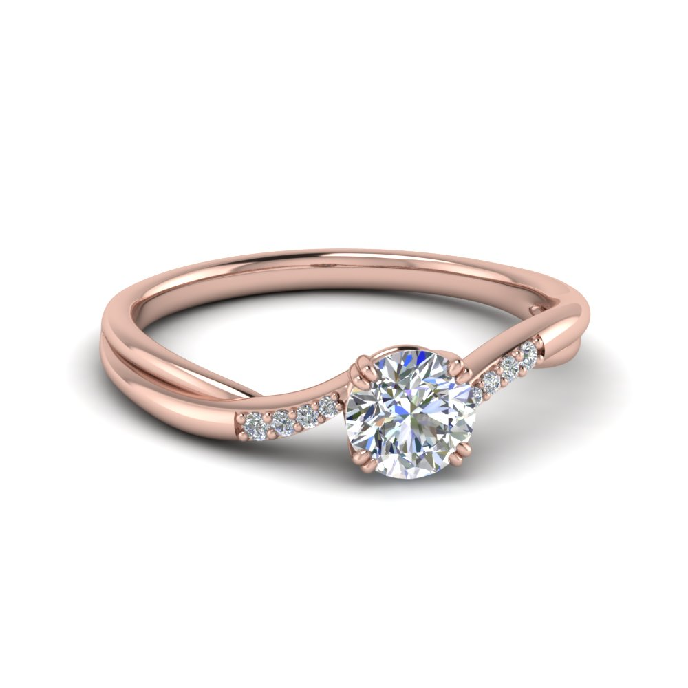 thin twisted diamond engagement ring in FD8487ROR NL RG