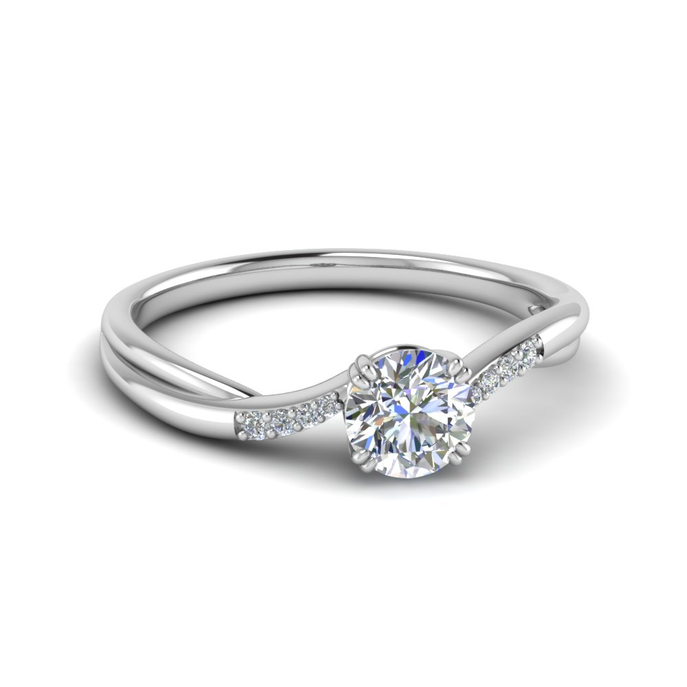 Thin Twisted Diamond Petite Ring