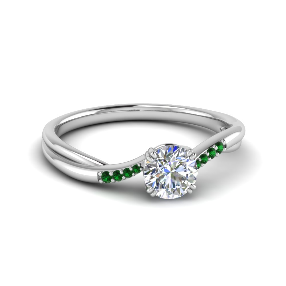 Emerald Thin Twisted Ring