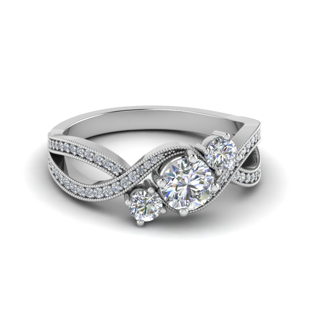 3 Stone Diamond Swirl Milgrain Engagement Ring In 14K White Gold