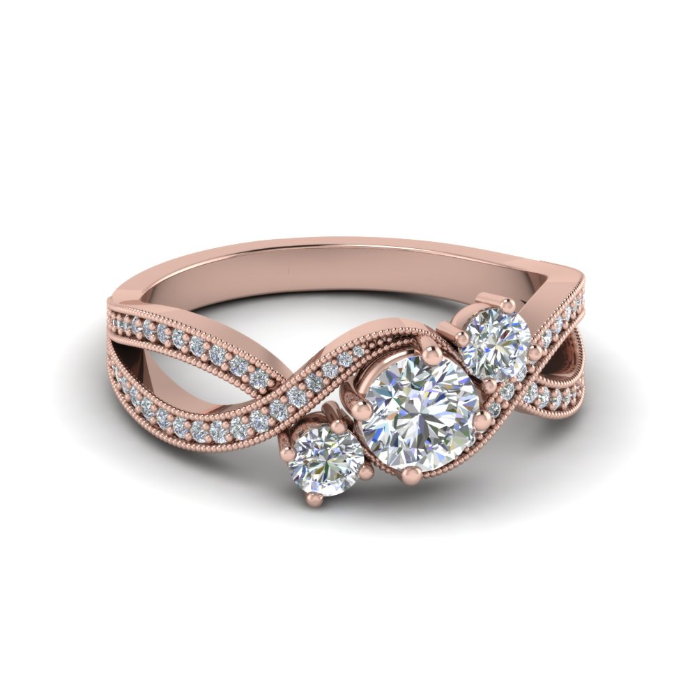 Milgrain Three Stone Pave Diamond Ring